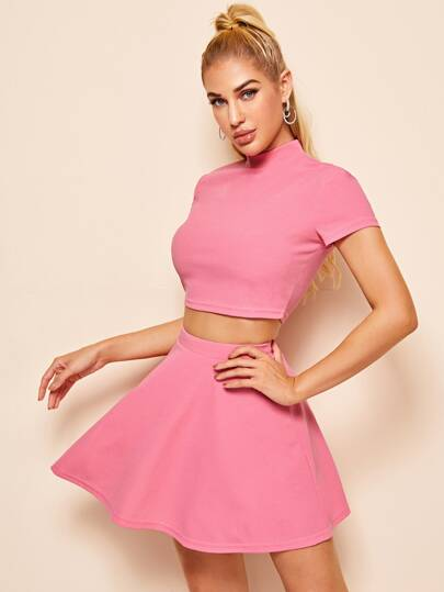 Mock-neck Keyhole Back Crop Top & Skater Skirt Set