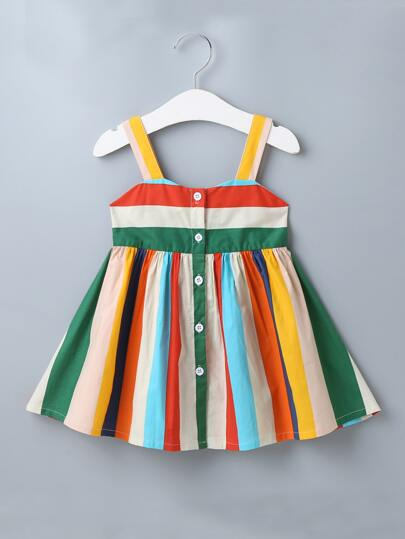 Baby Girl Vertical Striped Button Front Cami Dress