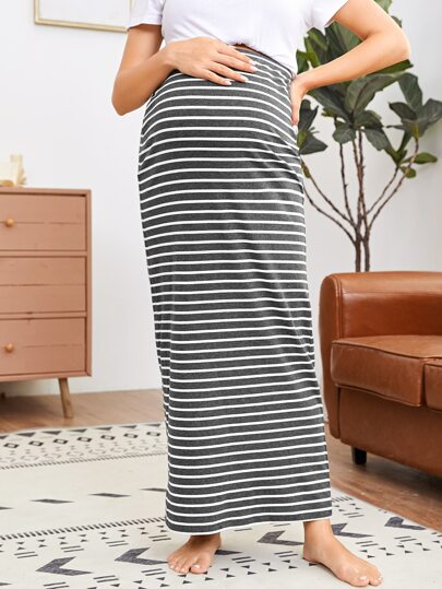 Maternity Striped Maxi Skirt