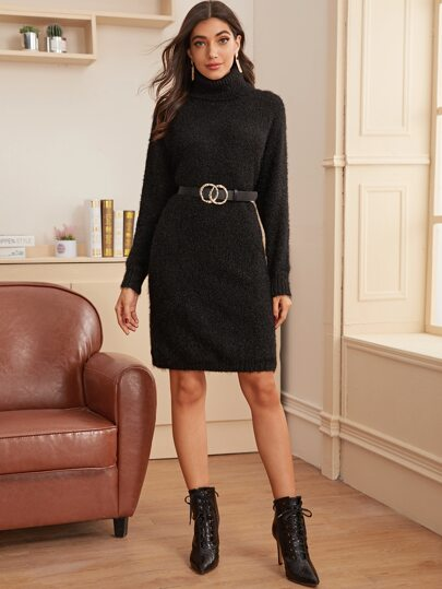 Turtle Neck Fuzzy Sweater Dress Without Belt