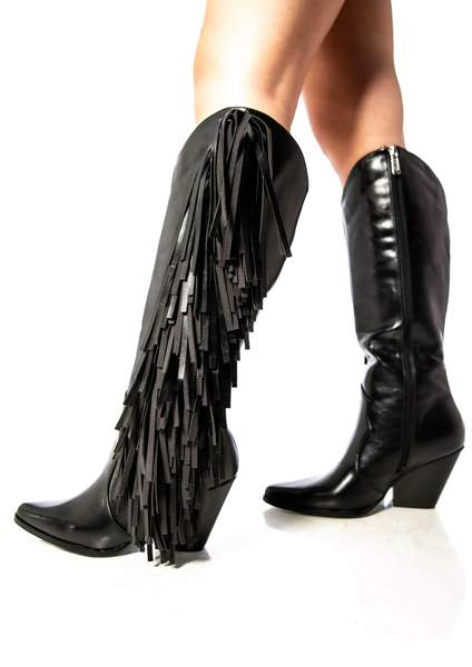 COWTOWN WESTERN BLOCK STACKED FRINGE HEEL BOOTS-BLACK