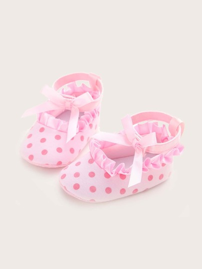 Baby Girls Polka Dot Bow Decor Ruffle Trim Flats