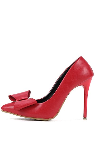 Red Faux Leather Pointed Toe Bow Decor Stiletto Heels