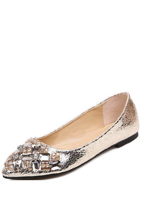 Gold Faux Leather Rhinestone Pointed Toe Flats