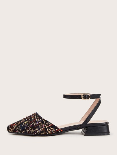 Point Toe Tweed Ankle Strap Flats