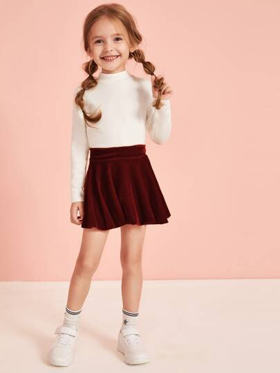 Toddler Girls Velvet Solid Skater Skirt