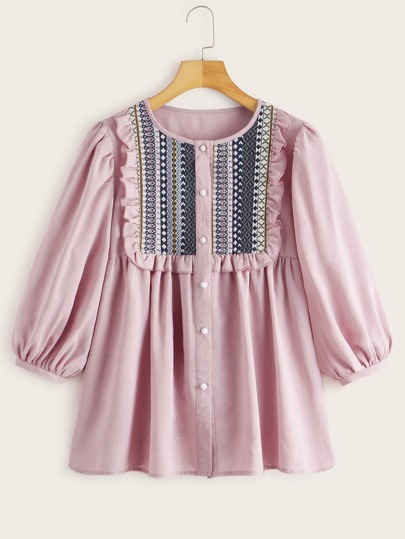 Tribal Embroidered Frilled Trim Babydoll Blouse