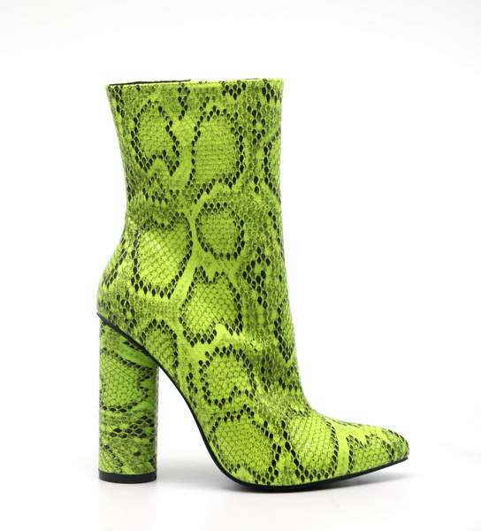 BOAS SNAKE SKIN CHUNKY STACKED HIGH HEELED ANKLE BOOTS-LIME