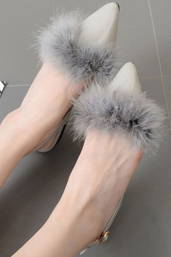 Gray Faux Fur Pointed Toe Slingback Buckle Strap Flats