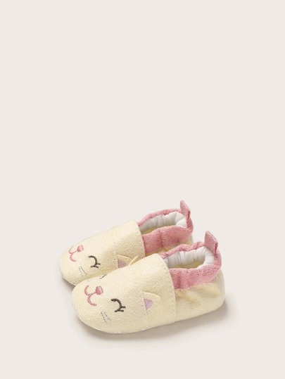 Baby Girl Cat Embroidered Flats