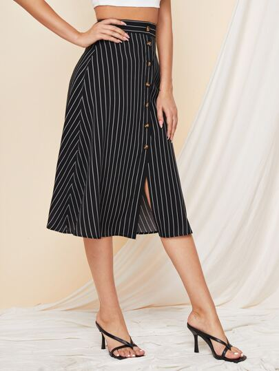 Button Front Striped A-line Skirt