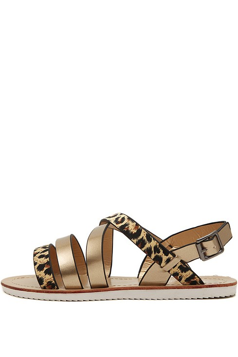 Leopard Print Faux Leather Strappy Sandals