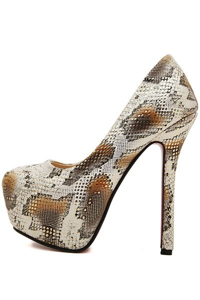 Gold Faux Leather Snakeskin Pattern Platform Stiletto Heels