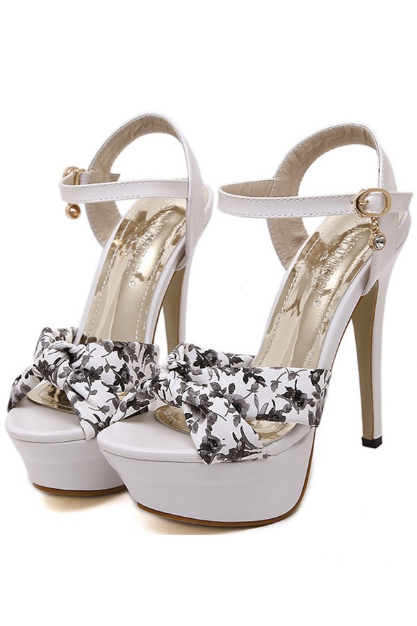 Black Floral Print Open Toe Platform Stiletto High Heels