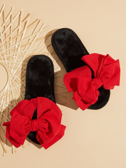 Bow Decor Open Toe Fuzzy Slippers