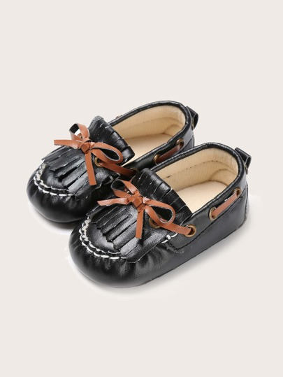 Baby Girl Bow & Fringe Decor Flats