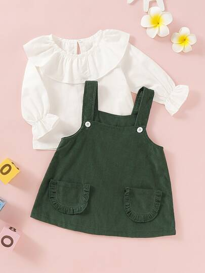Baby Girl Ruffle Trim Top With Corduroy Pinafore Dress