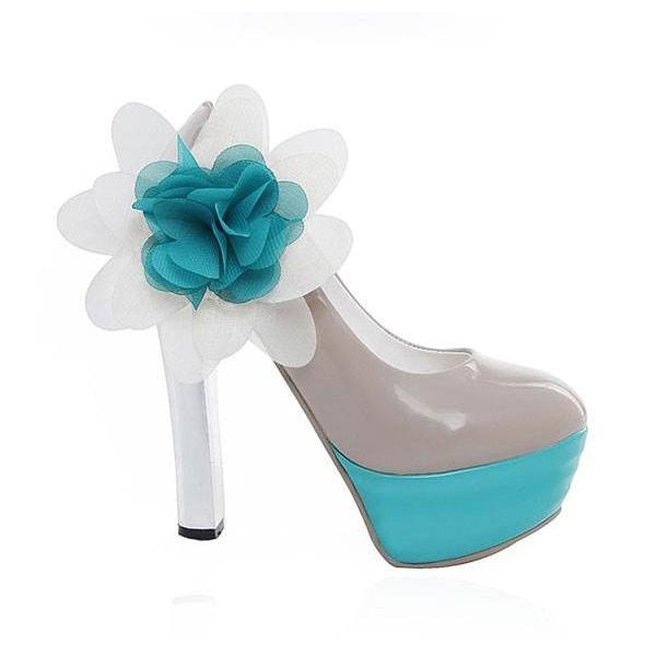 Faux Patent Leather Side Flowers Chunky Heels