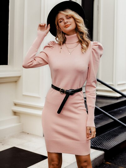 Turtle Neck Gigot Sleeve Sweater Dress Without Belt