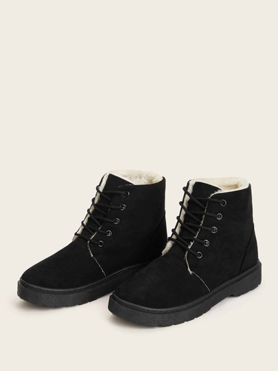 Lace Up Faux Fur Lined Boots