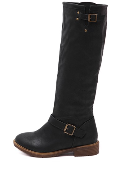 Black Buckle Strap Square Heel Riding Boots