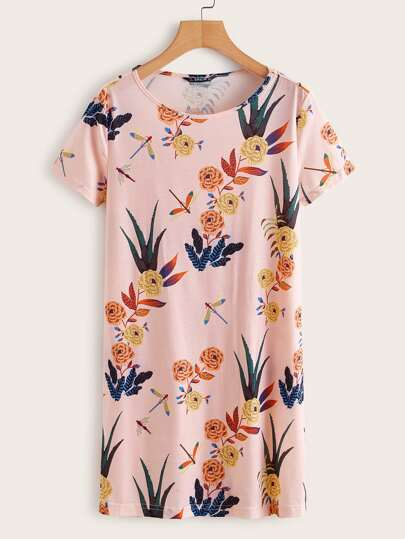 Floral and Dragonfly Print Dress