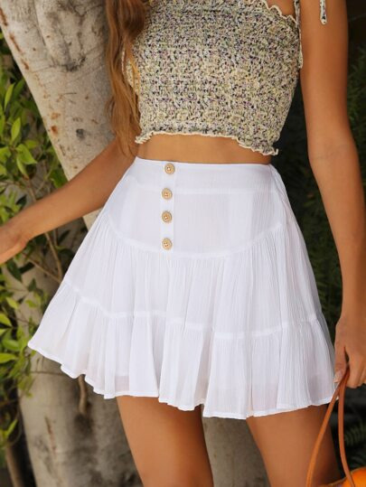 Button Front Tiered Skirt