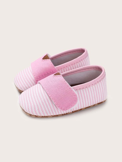Baby Boy Striped Velcro Strap Flats