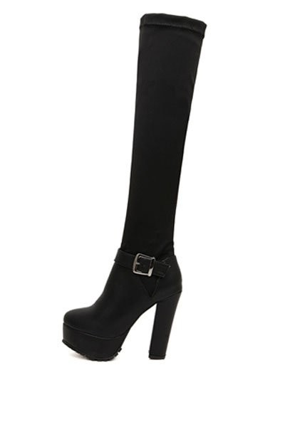 Black Faux Pu Buckle Accent Thigh High Boots