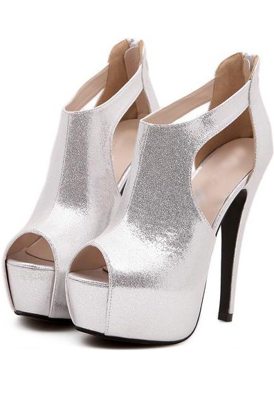 Silver Faux Leather Cutout Peep Toe Platform Heels