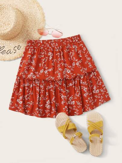 Frill Trim Ditsy Floral Print Skirt