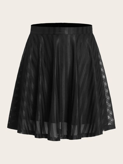 Solid Zip Back Flared Skirt