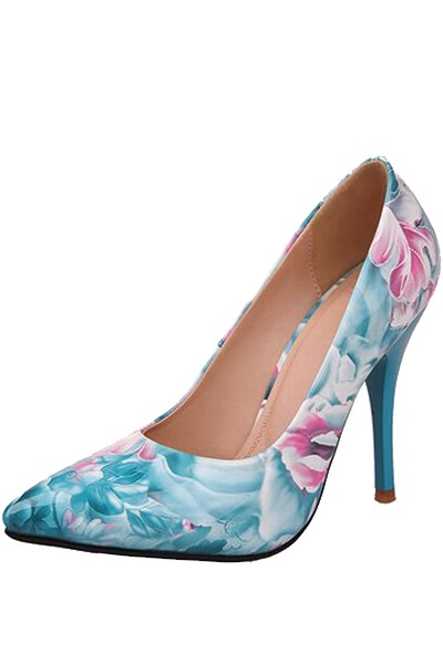 Teal Patent Leather Floral Pattern Pump Heels