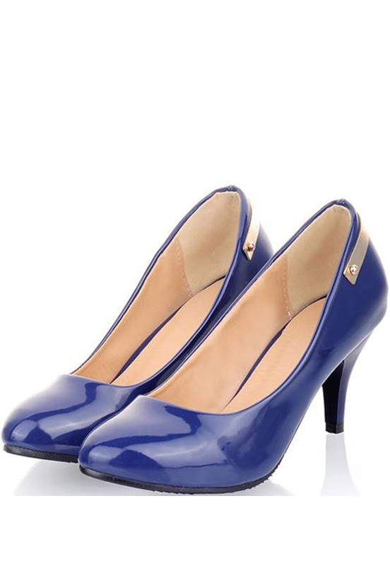 Blue Pu Pointed Toe Metallic Decor Pump Heels