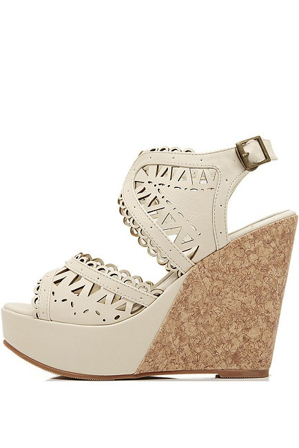 Beige Faux Leather Cutout Platform Wedges