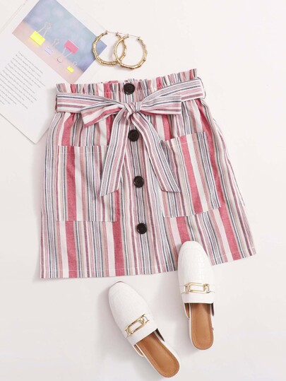 Striped Button Front Dual Pocket Belted Skirt