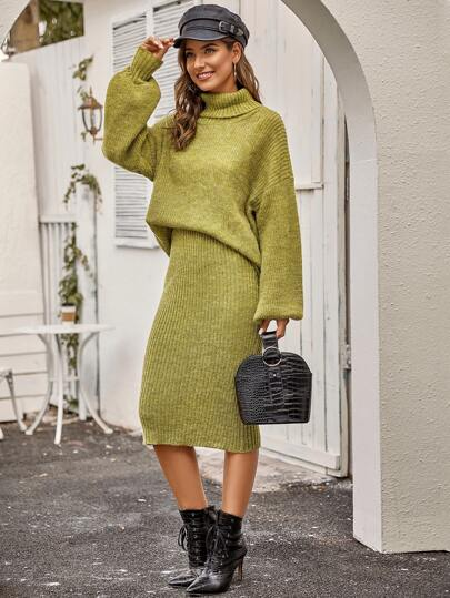 Turtle Neck Drop Shoulder Sweater & Skirt Set