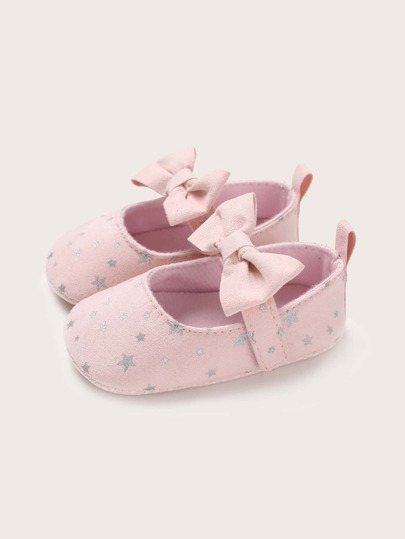 Baby Girls Bow Decor Star Pattern Flats