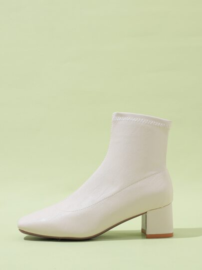 Point Toe Minimalist Chunky Ankle Boots