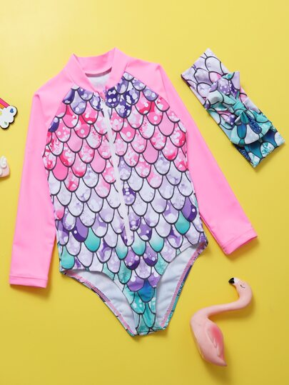 Toddler Girls Fish Scales One Piece Swimsuit & Headband