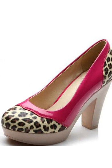 Fuchsia Patent Leather Leopard Detail Chunky Heels