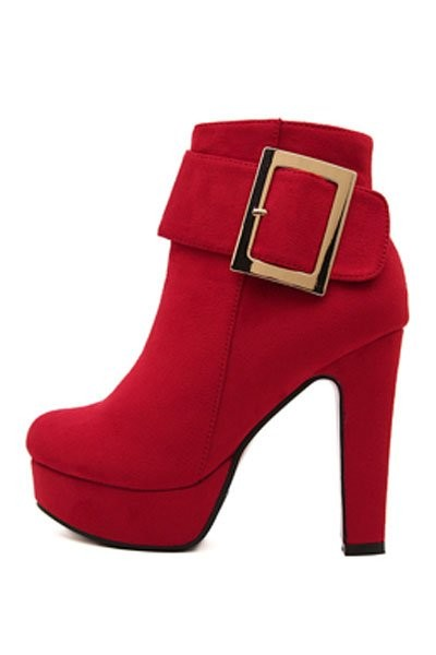Red Suede Buckle Accent Booties