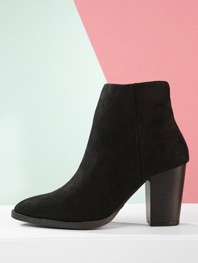 Chunky Stacked Heel Pointed Ankle Booties