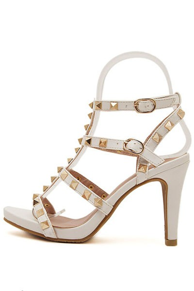 White Open Toe Studded Casual Gladiator Heels