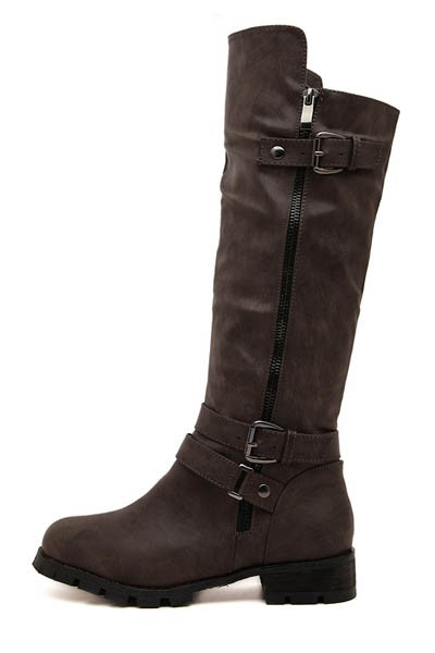 Coffee Faux Leather Buckled Side Zip Riding Boots