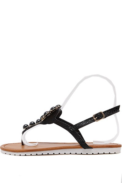 Black Faux Gemstone Thong Boho Sandals