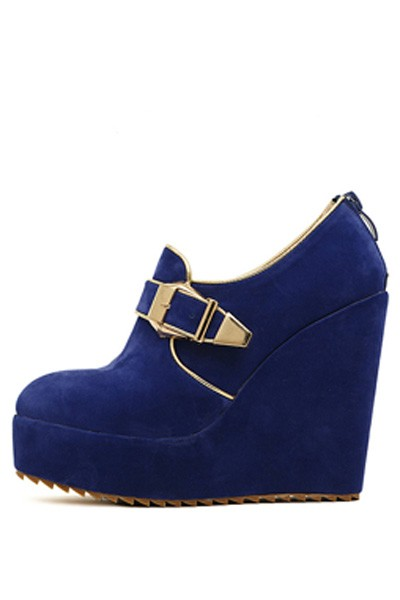 Blue Suede Buckle Accent Wedges