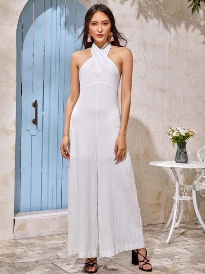 Halterneck Backless Wide Leg Jumpsuit