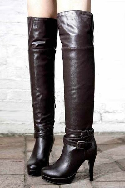 Brown Pu Buckle Straps Side Zip Thigh High Boots
