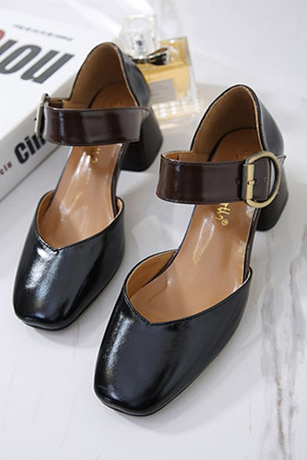 Black Pu Square Toe Buckle Strap Chunky Heels